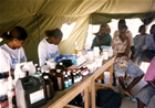 Medical Mission with CMRF: Medicines and drugs are provided to the sick through this makeshift pharmacy corner.